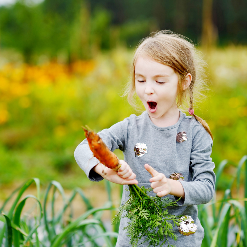 Amazed girl with carrot